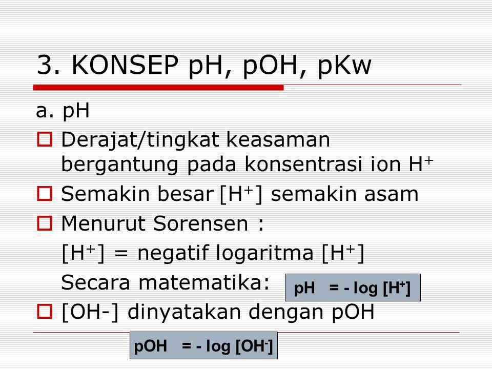 3. KONSEP pH, pOH, pKw a. pH. Derajat/tingkat keasaman bergantung pada konsentrasi ion H+ Semakin besar [H+] semakin asam.